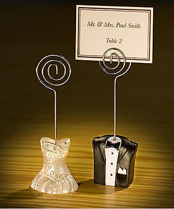 bride and groom place card holders